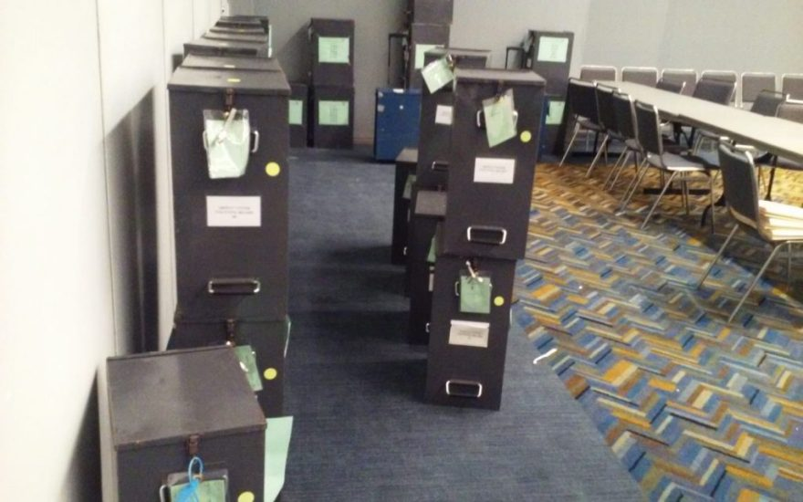 Ballot boxes were brought into a room at COBO Hall in preparation for the Detroit Proposal R recount.